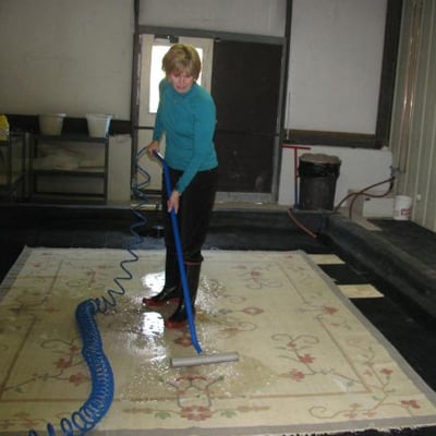 Rug Cleaning Specialist at Work