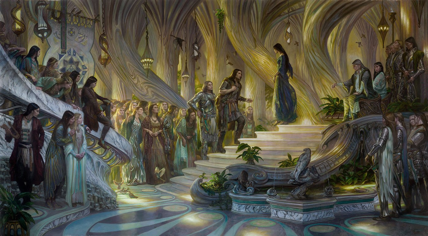 "Beren and Luthien in the Court of Thingol and Melian 110"" x 60"" oil on panel 2015  image from J.R.R. Tolkien's The Silmarillion private collection"