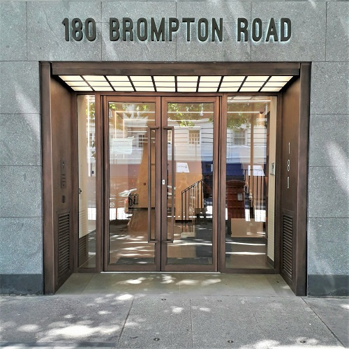 Metal finishing projects. Artistic Metals bronze finish at Brompton Rd, London.