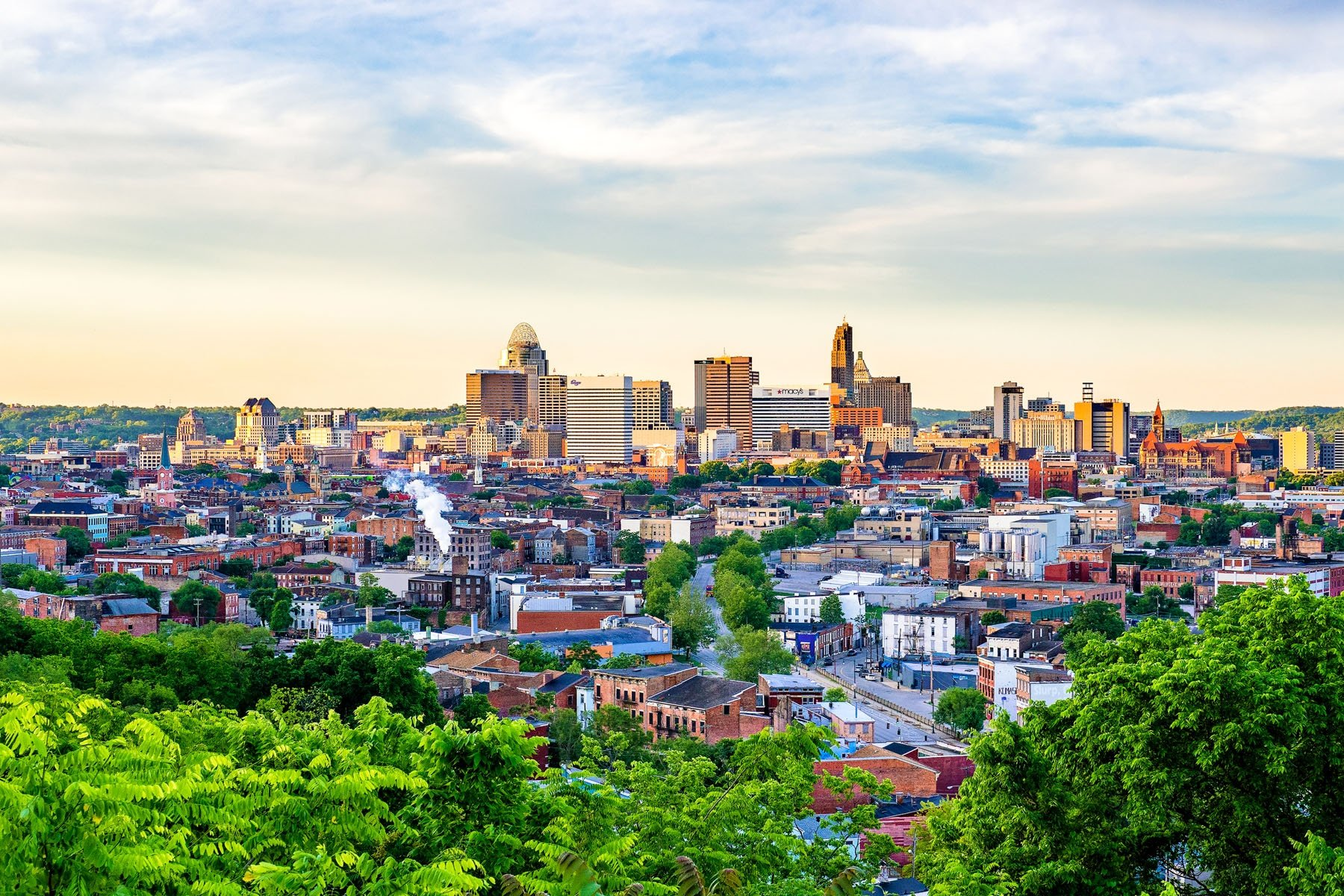CINCINNATI'S BACKSIDE - This shot was taken from Bellevue Hill Park in Clifton. An early morning shot from the north of Cincinnati with the sun rising in the east.
