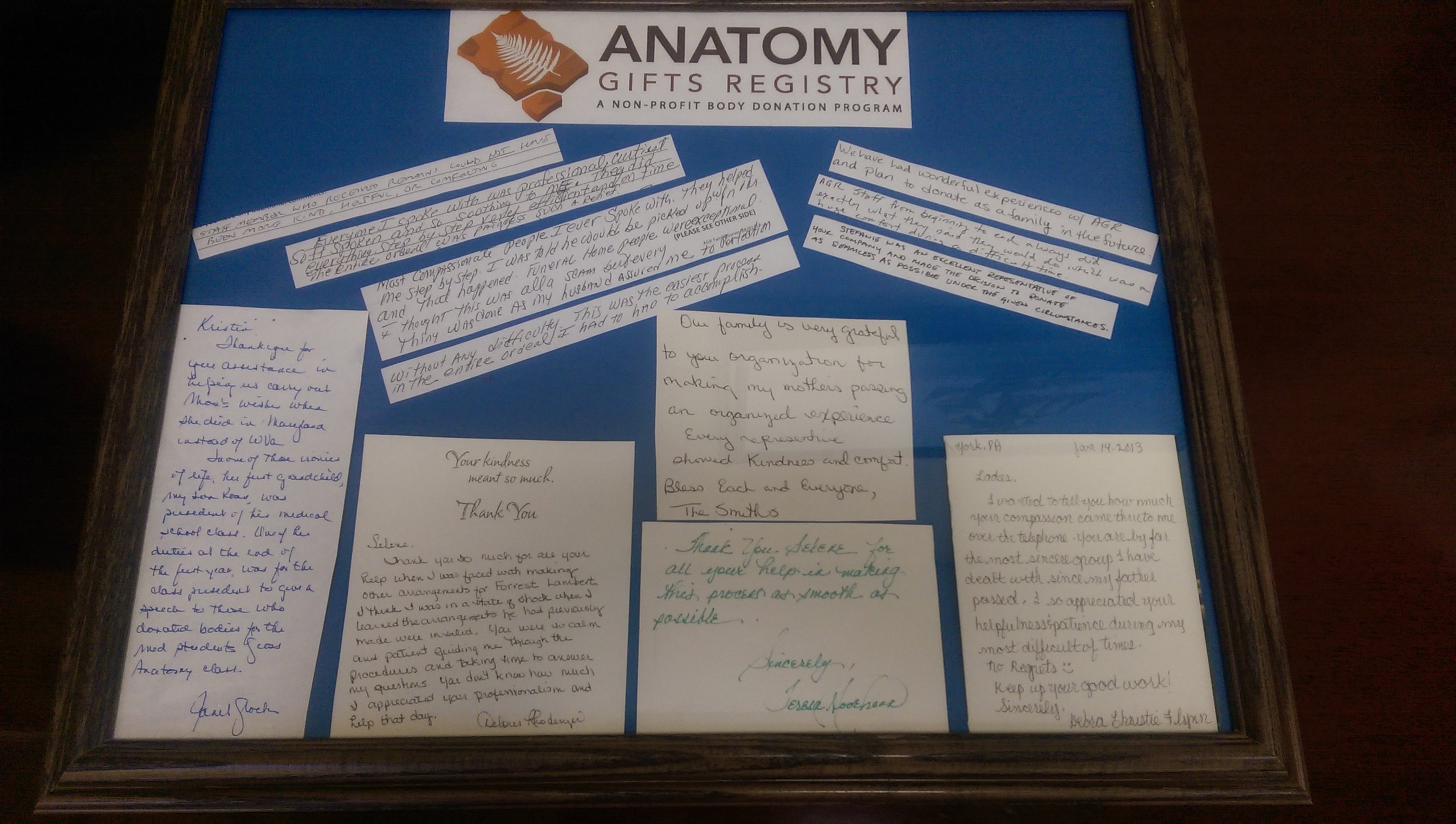||||Just a few of the wonderful letters we receive from donor families.