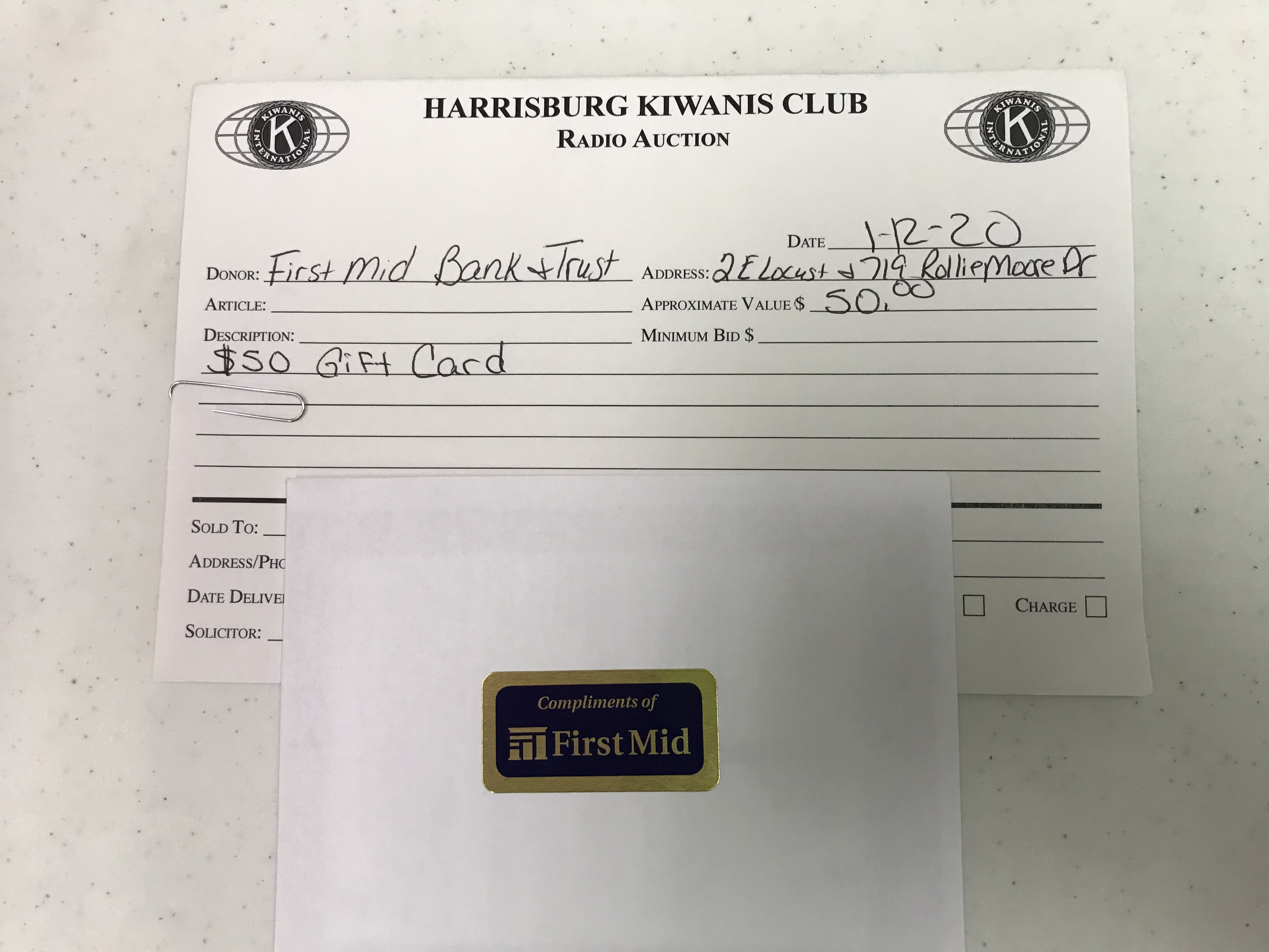 Item 413 - First Mid Bank & Trust $50 Visa Gift Card