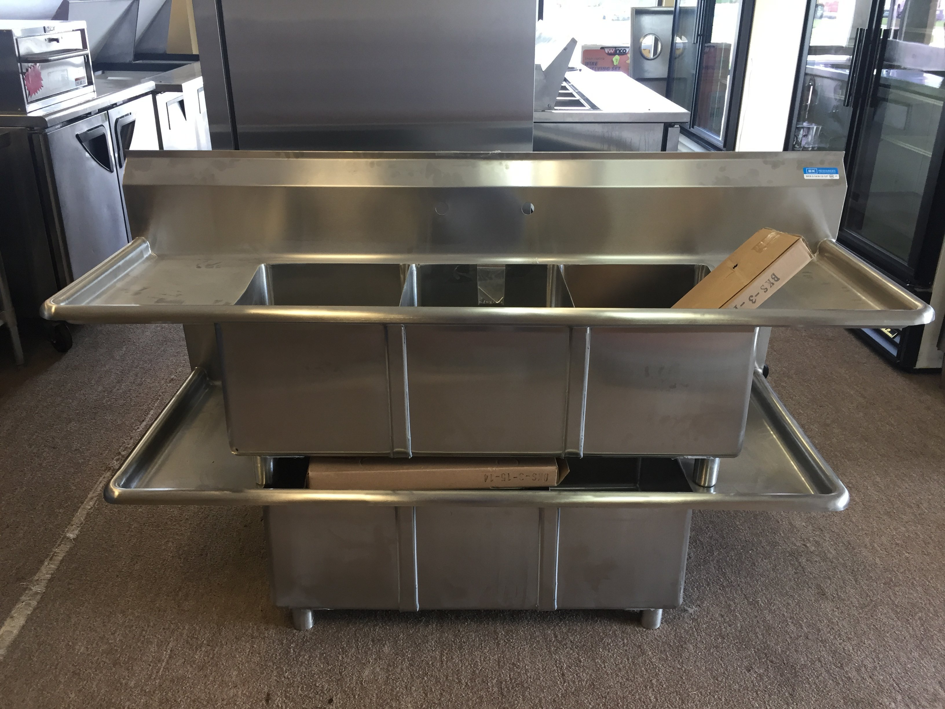 New BK Resources 3 Comp Sink with Drainboard Starting @ $550.00 and Up