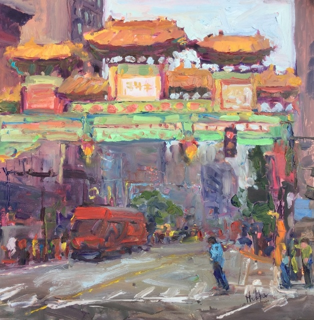 "Lynn Mehta, Friendship Gates, Chinatown, 12"" x 12"" Oil"