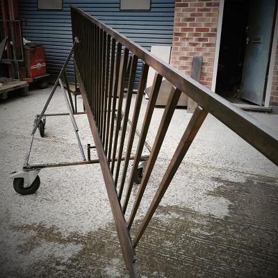 Metal coating projects - blackened steel finish on interior balustrading.