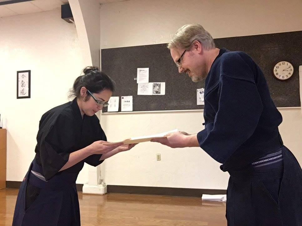 Nidan menjo presentation for Vivian - took a bit for it to arrive but well deserved.