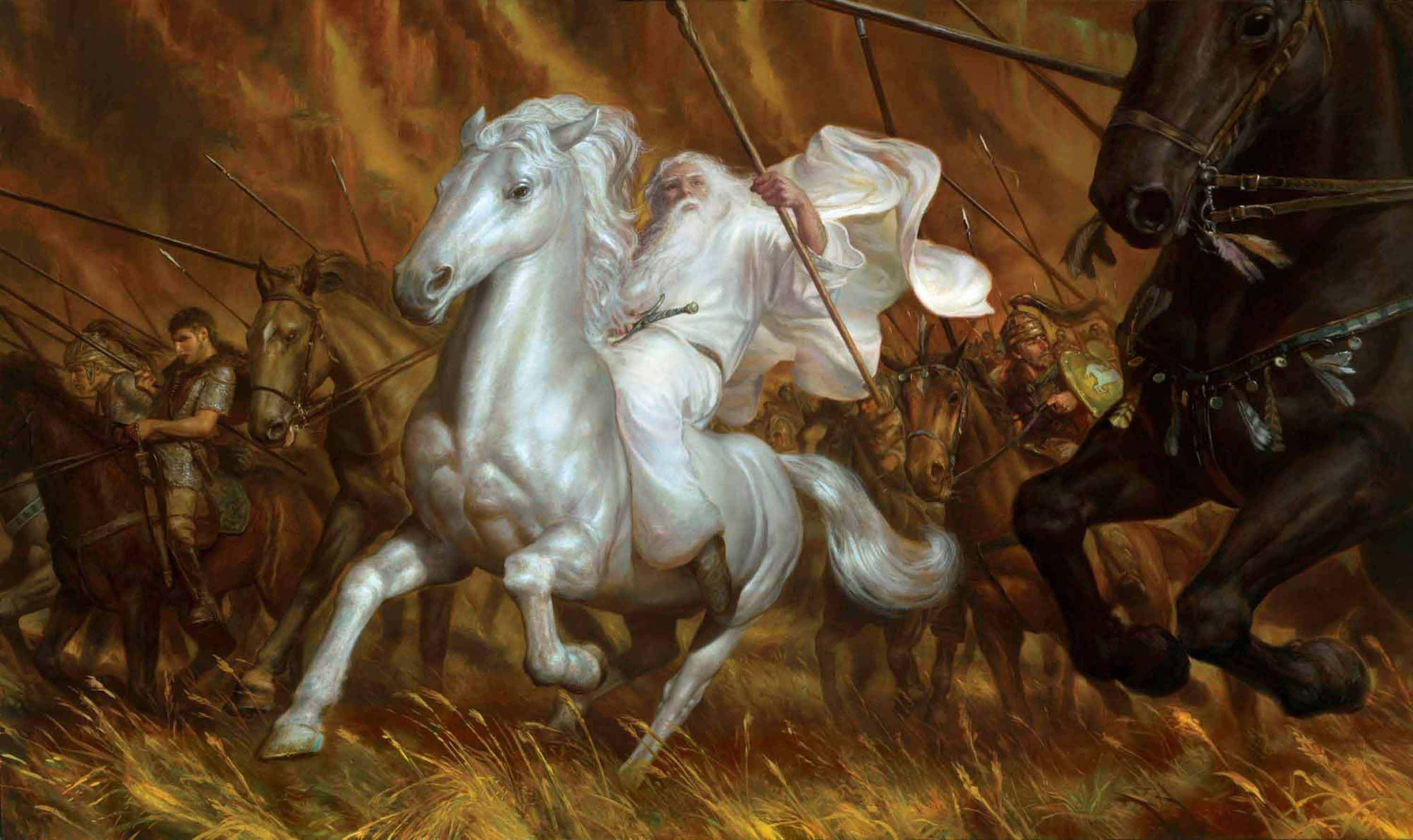 "The White Rider 38"" x 60""  Oil on Panel  2009 onward to Helm's Deep! original art available for purchase"