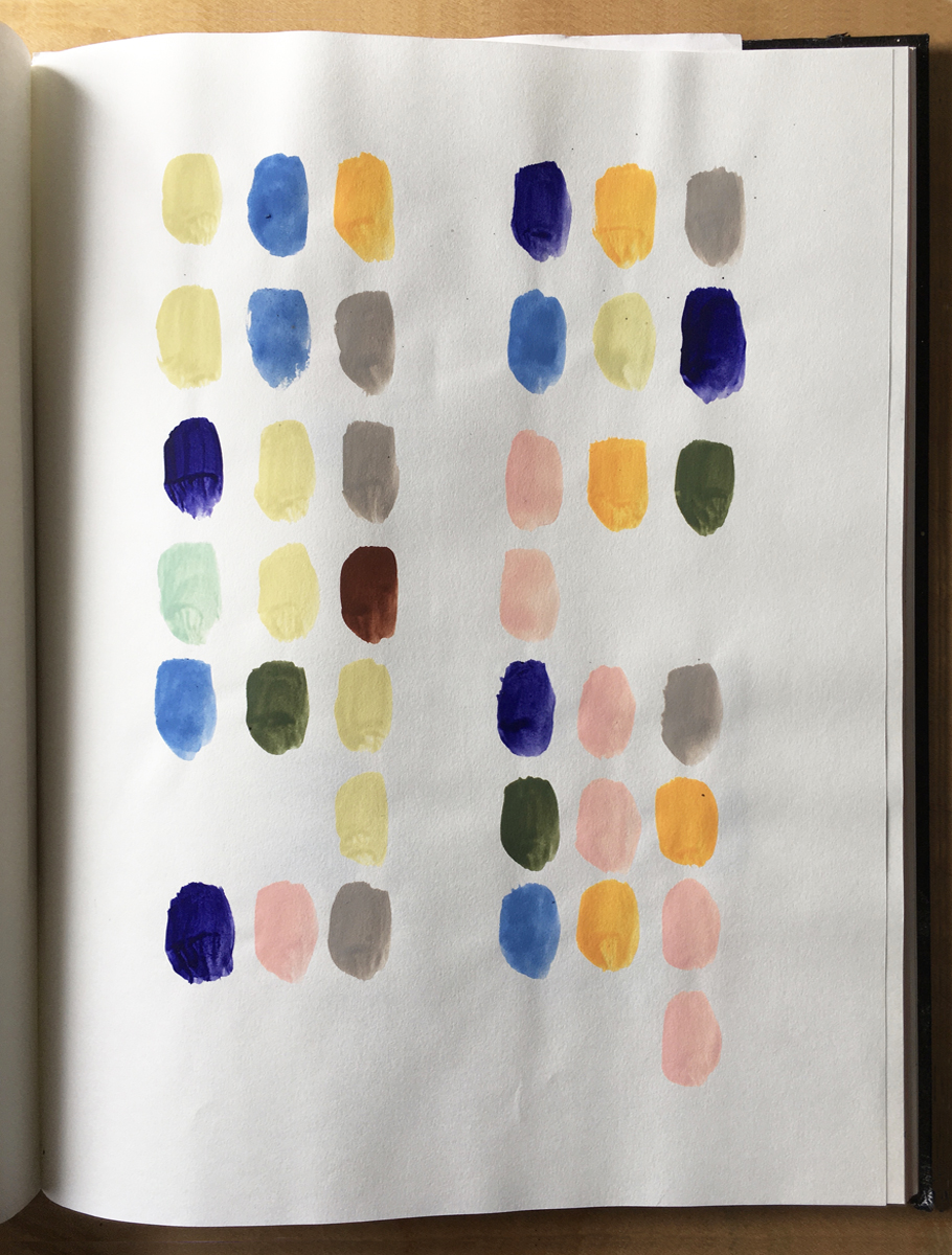 A sketchbook page with six rows of 39 painted oval dots in various colors.