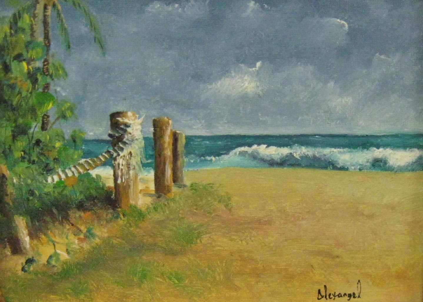 "Alexangel Estevez, Private Beach, 6"" x 8"" Oil"