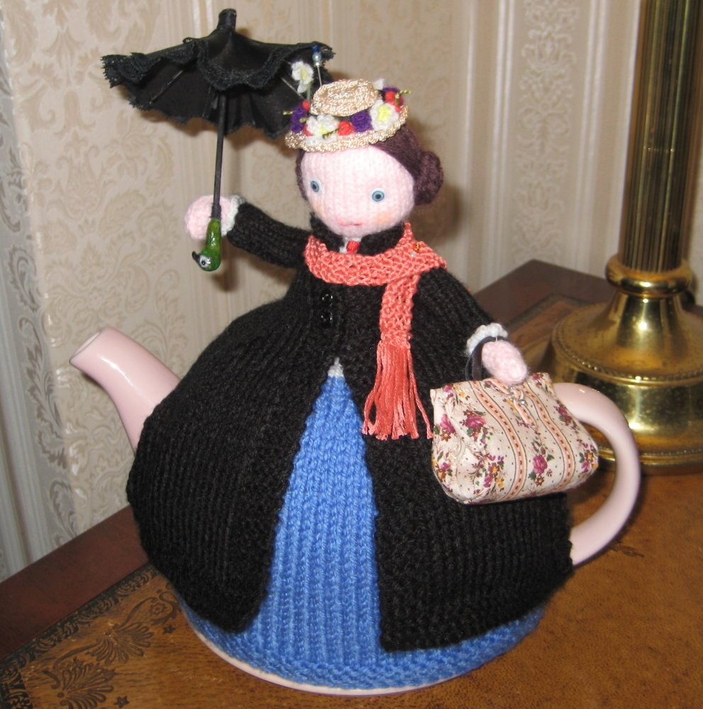 HAND KNITTED MARY POPPINS TEACOSY PATTERN FROM 'HAND MADE AWARDS'