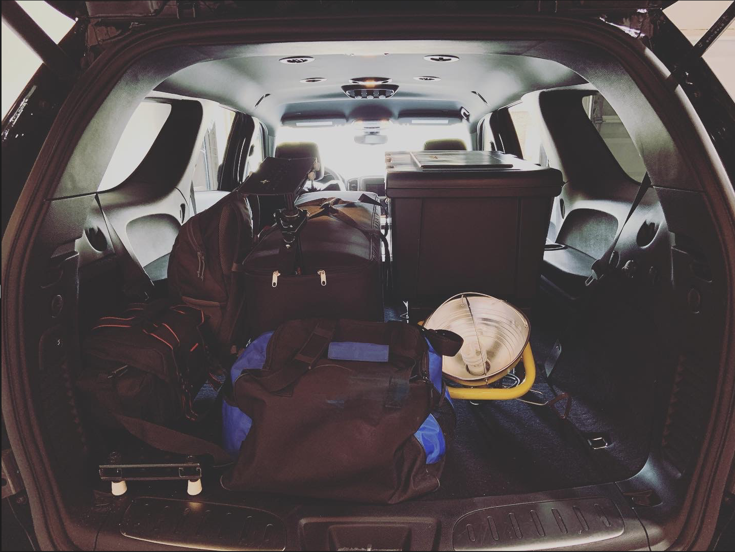 BTS: Vehicle packed with equipment heading out to video shoot