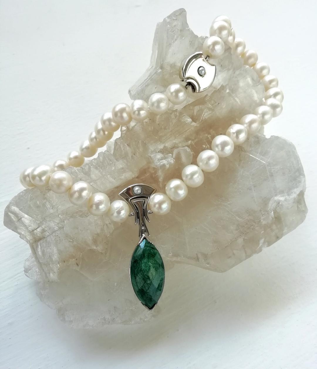 Gota Esmeralda Plata, esmeralda y perla