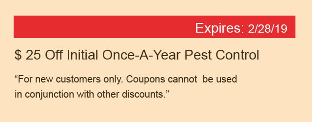 $25 Off Initial Once-A-Year Pest Control