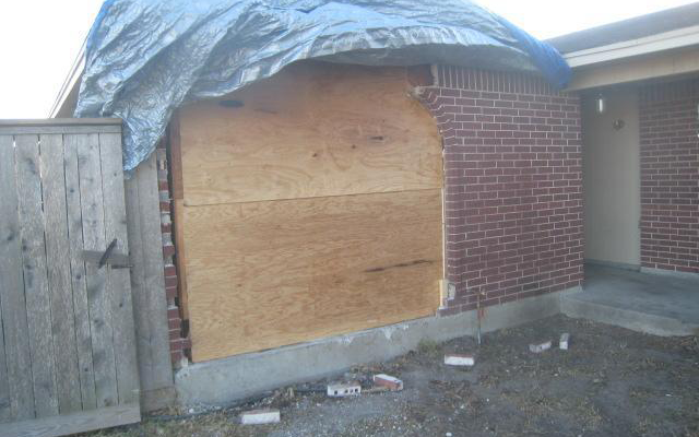 Damaged exterior wall