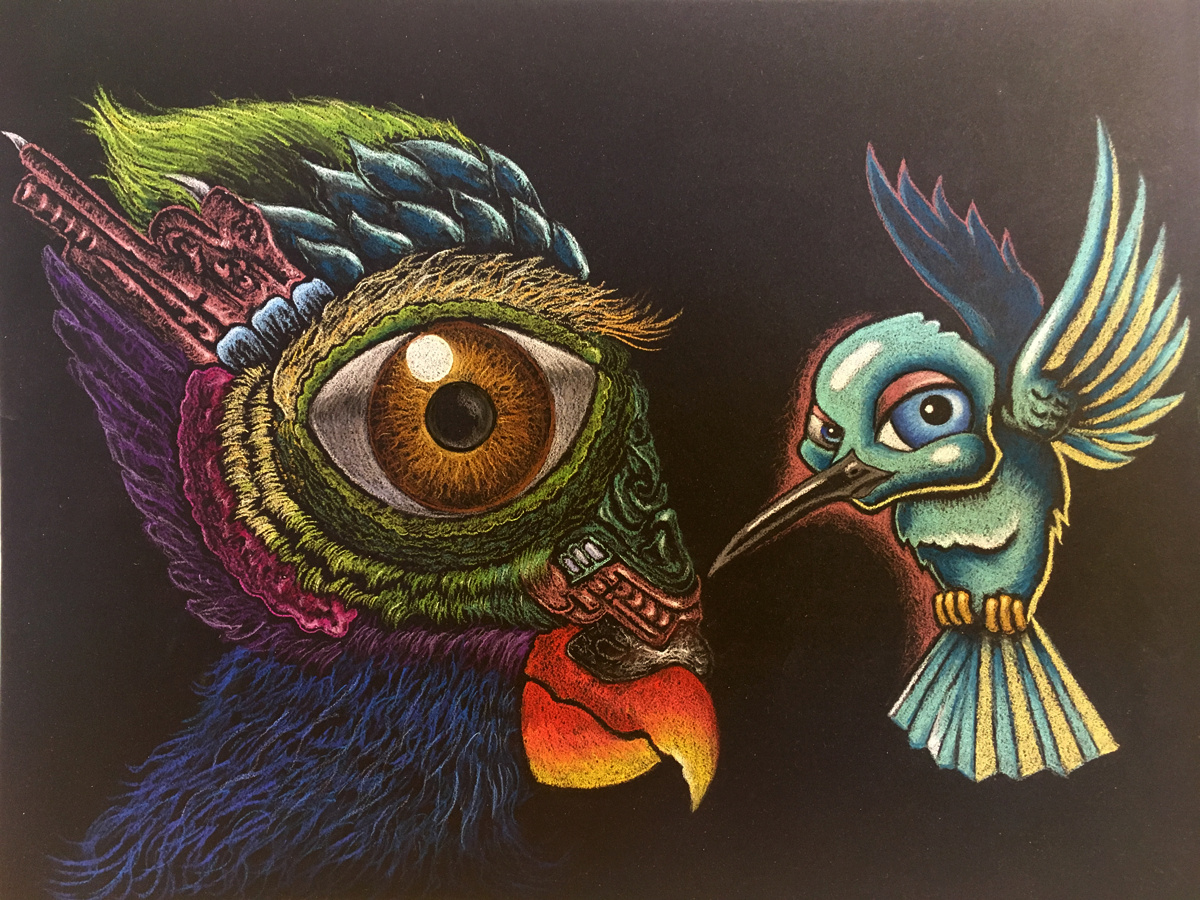 Bird Study, 2018 Pastel on Black Paper  12 in × 9 in