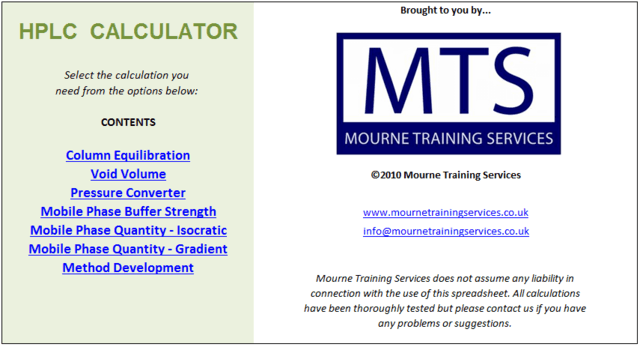 HPLC Calculator from Mourne Training Services Ltd