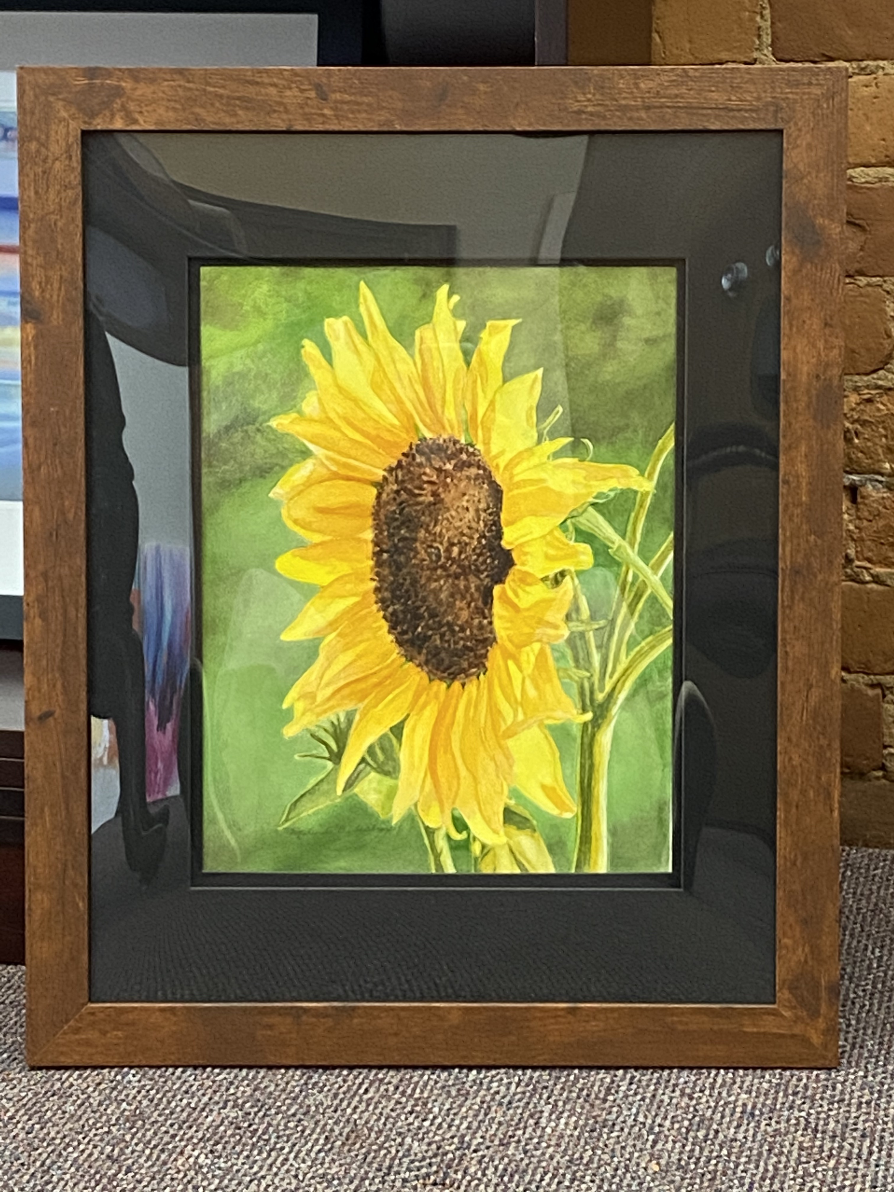 "Sunflower watercolor 11"" X 14"" $300."