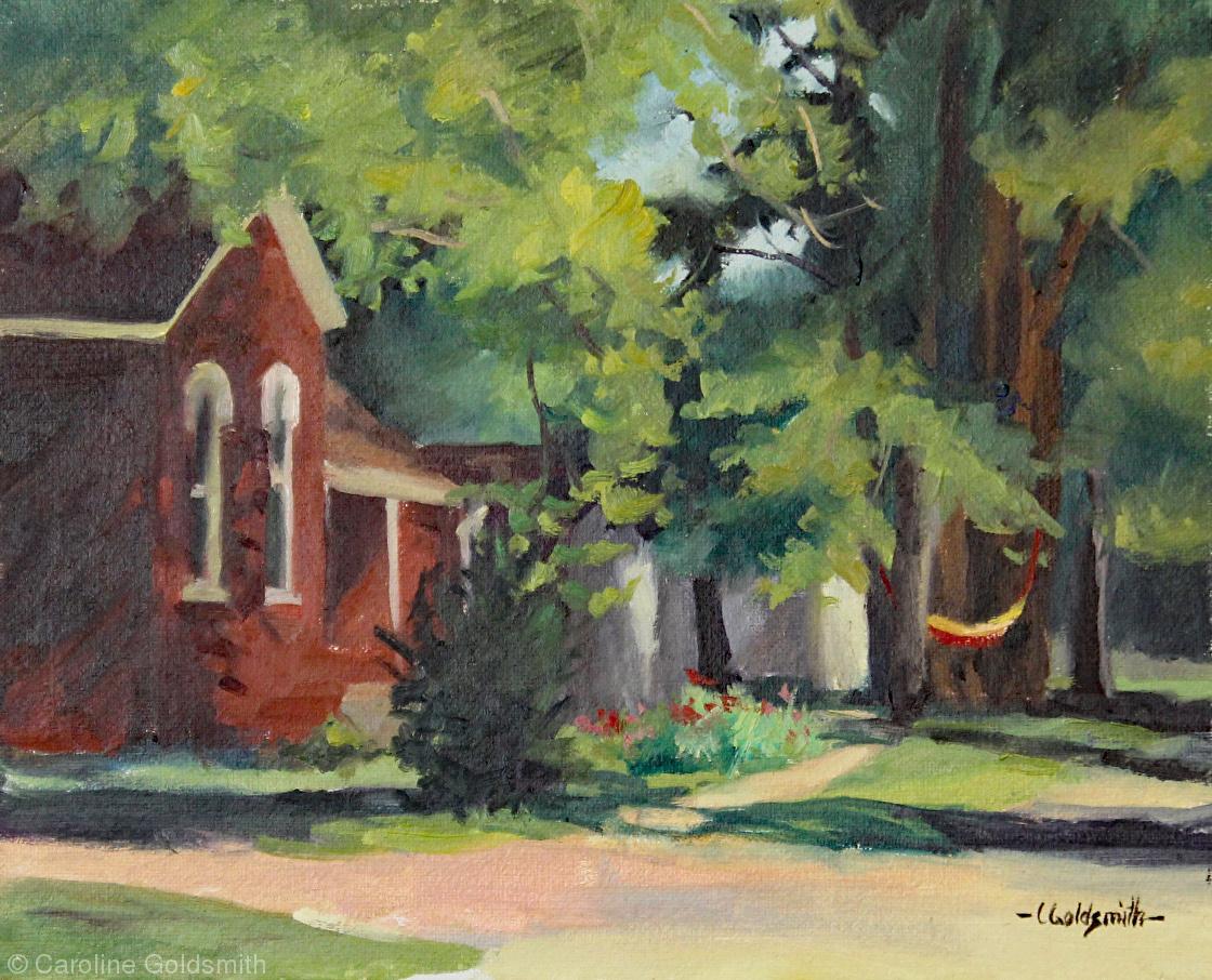 """Inviting Hammock on Monticello St. Oil on linen panel 10"""" X 8"""" $250."""
