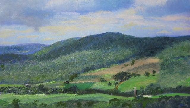 "71. Garrett Highway,  Landscape Overlook Patterne, 7"" x 12"" Oil on Panel"