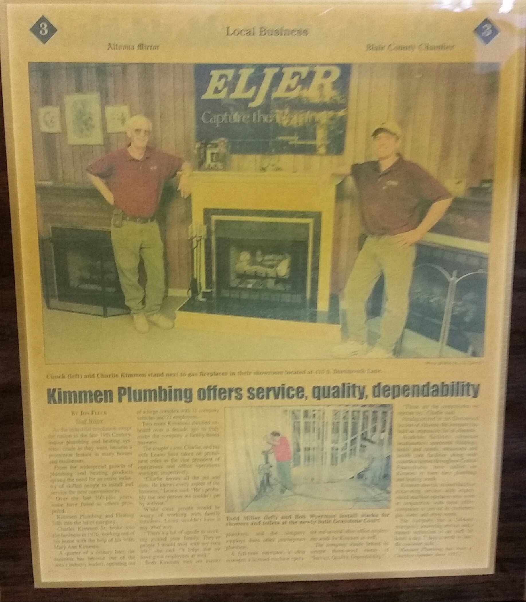 A 1995 Article In The Altoona Mirror Highlighting Kimmen Plumbing Heating Inc S Many Years Of Quality And Reliable Work