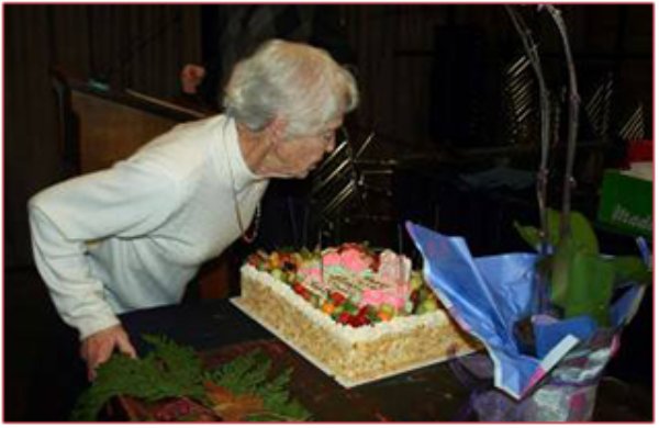 Life member Janet Wood has mentored hundreds of VRS members. Here she celebrates her 80th birthday at a recent society meeting.