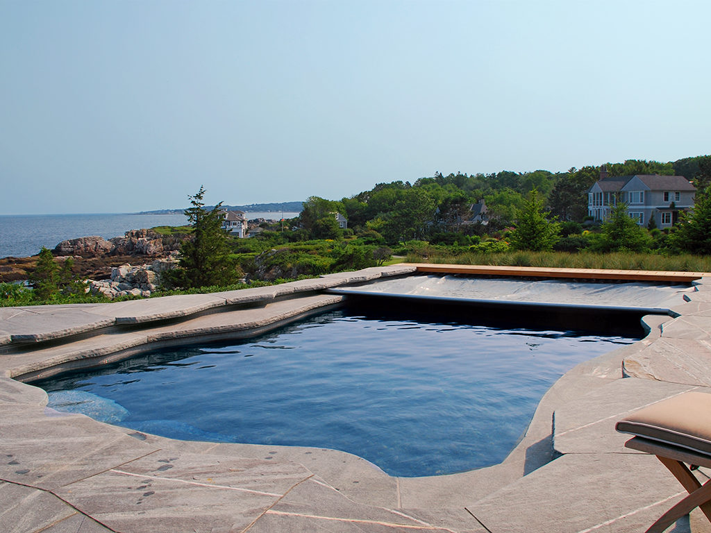 Cover-Pools Extreme Cantilever Deck With Freeform Pool.
