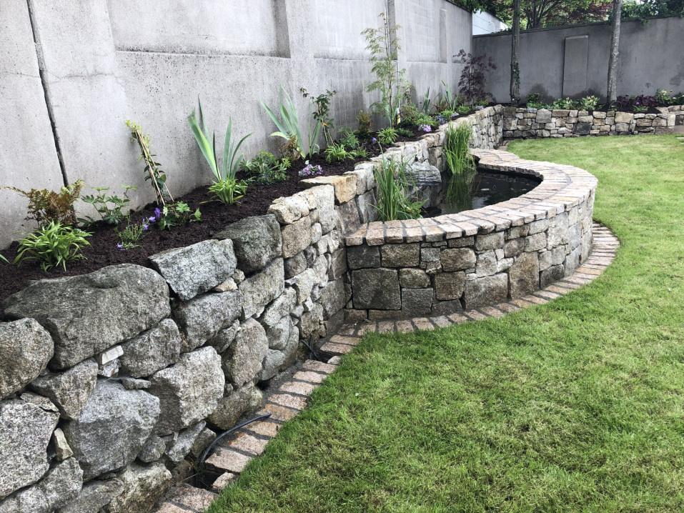 Granite Stone Walls, Pond and Cascade