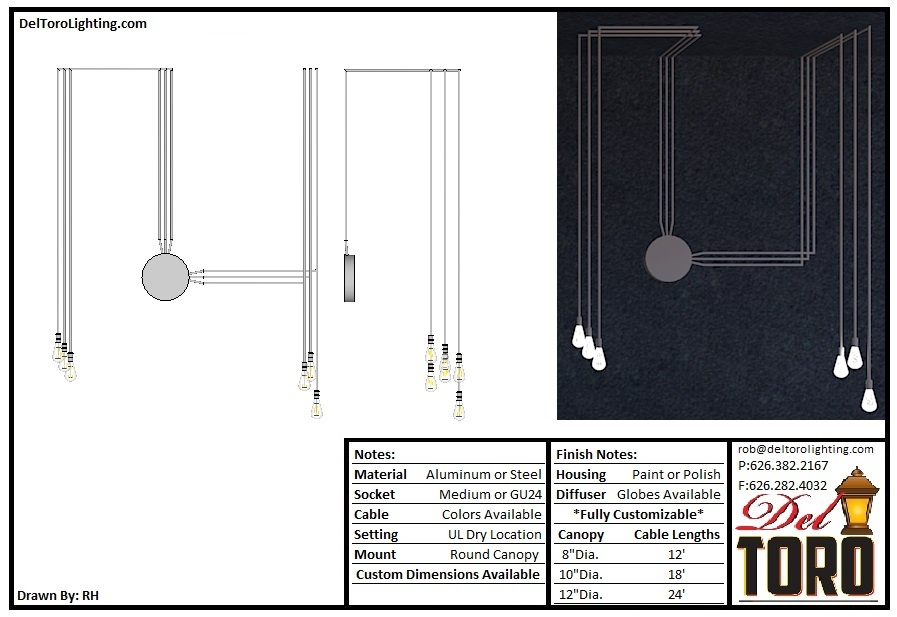 991P-Adjustable Cable Hung Pendants