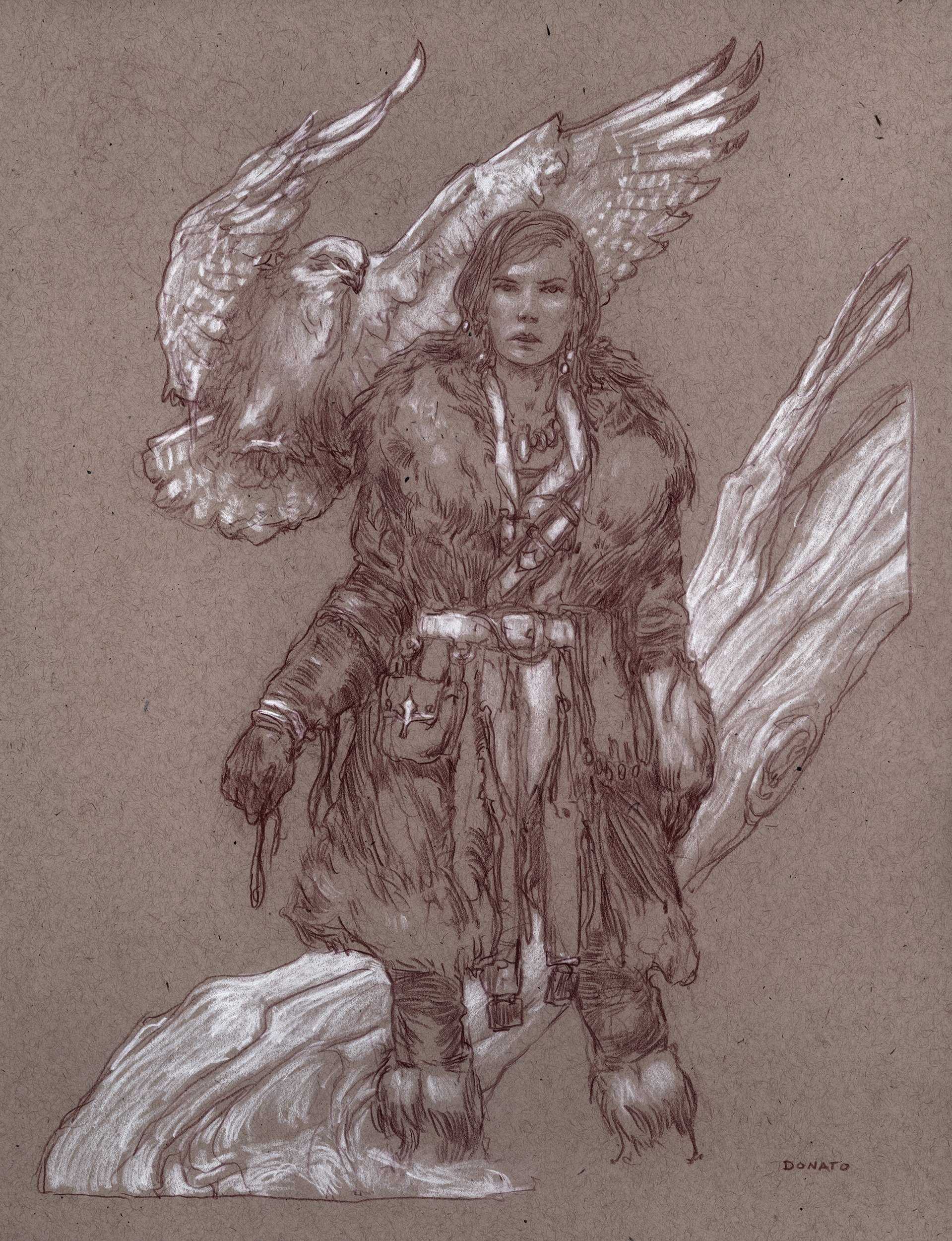 "Warg 14"" x 11""  Watercolor and chalk on toned paper available for purchase"