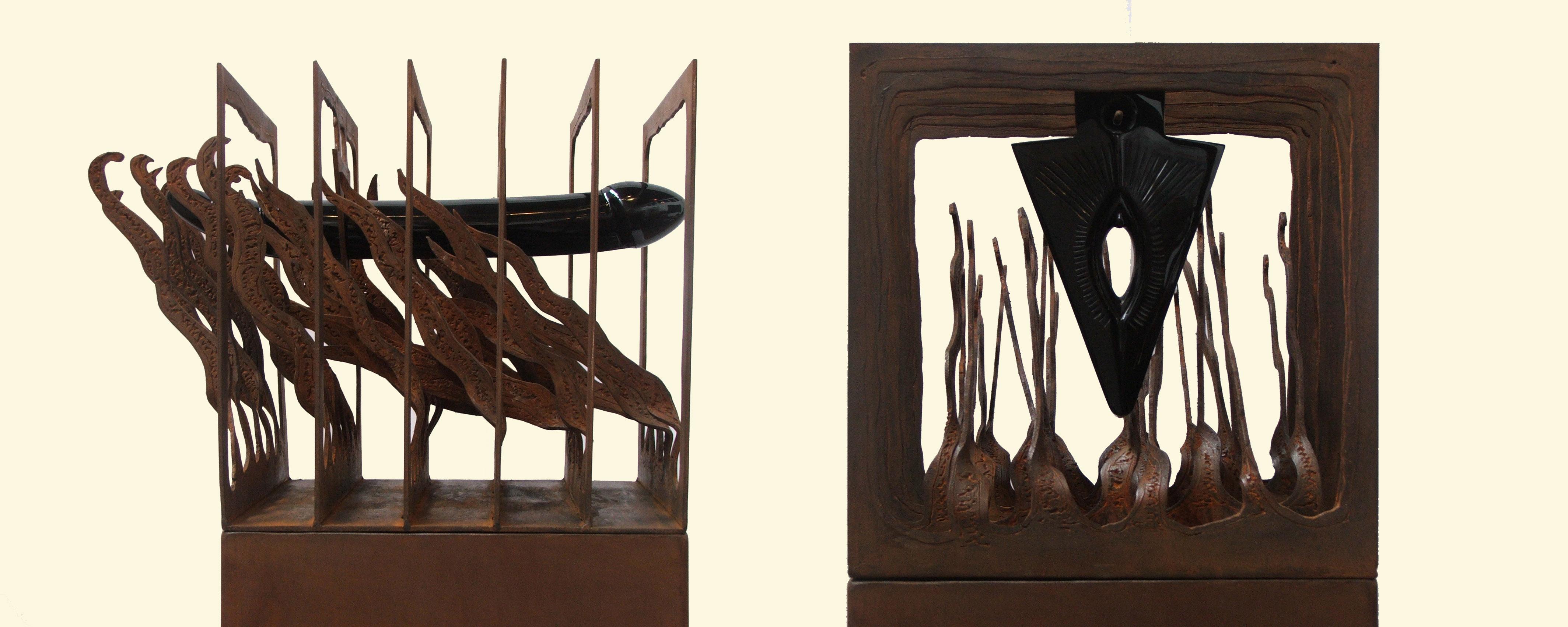 Adan y Eva Acero corte plasma y obsidiana 248 x 55 x 55