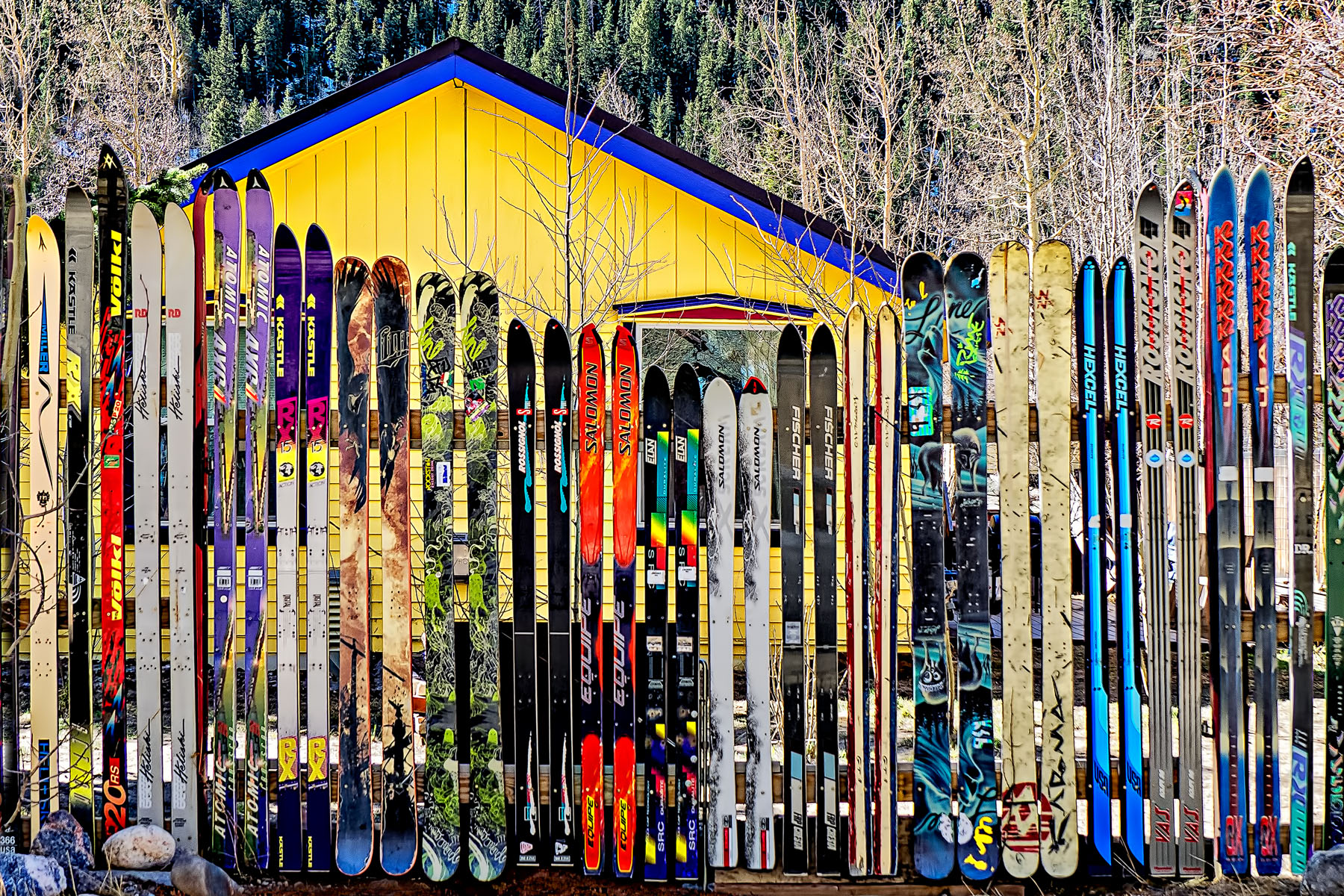 "FENCE OF SKIS - You know what they say... ""The best offence is a good ski fence."""