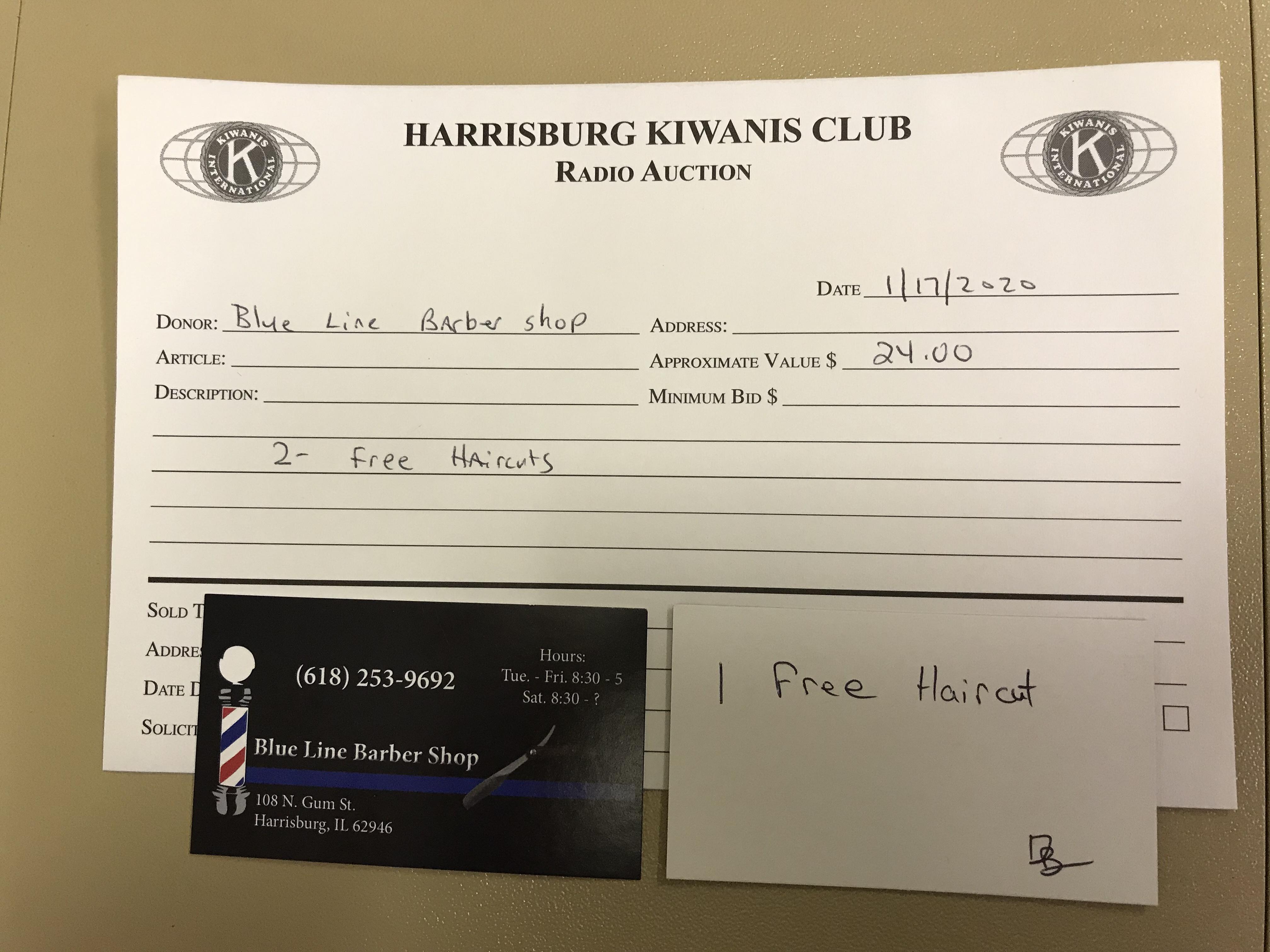 Item 401 - Blue Line Barber Shop 2 Free Haircuts