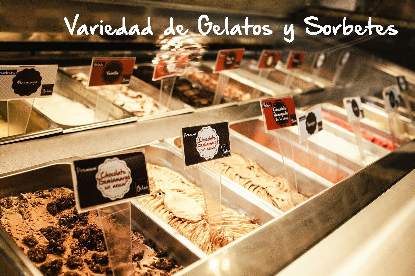 Barra de gelatos y sorbetes.