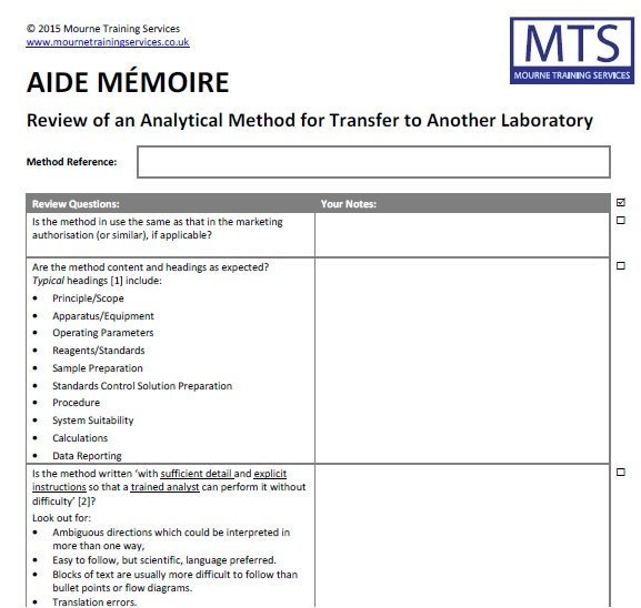 Aide mémoire for method transfer from Mourne Training Services Ltd