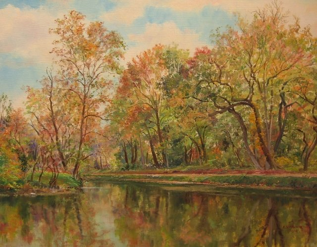 """55. Autumn at Pennyfield Lock, 14"""" x 18"""" Oil on Canvas"""