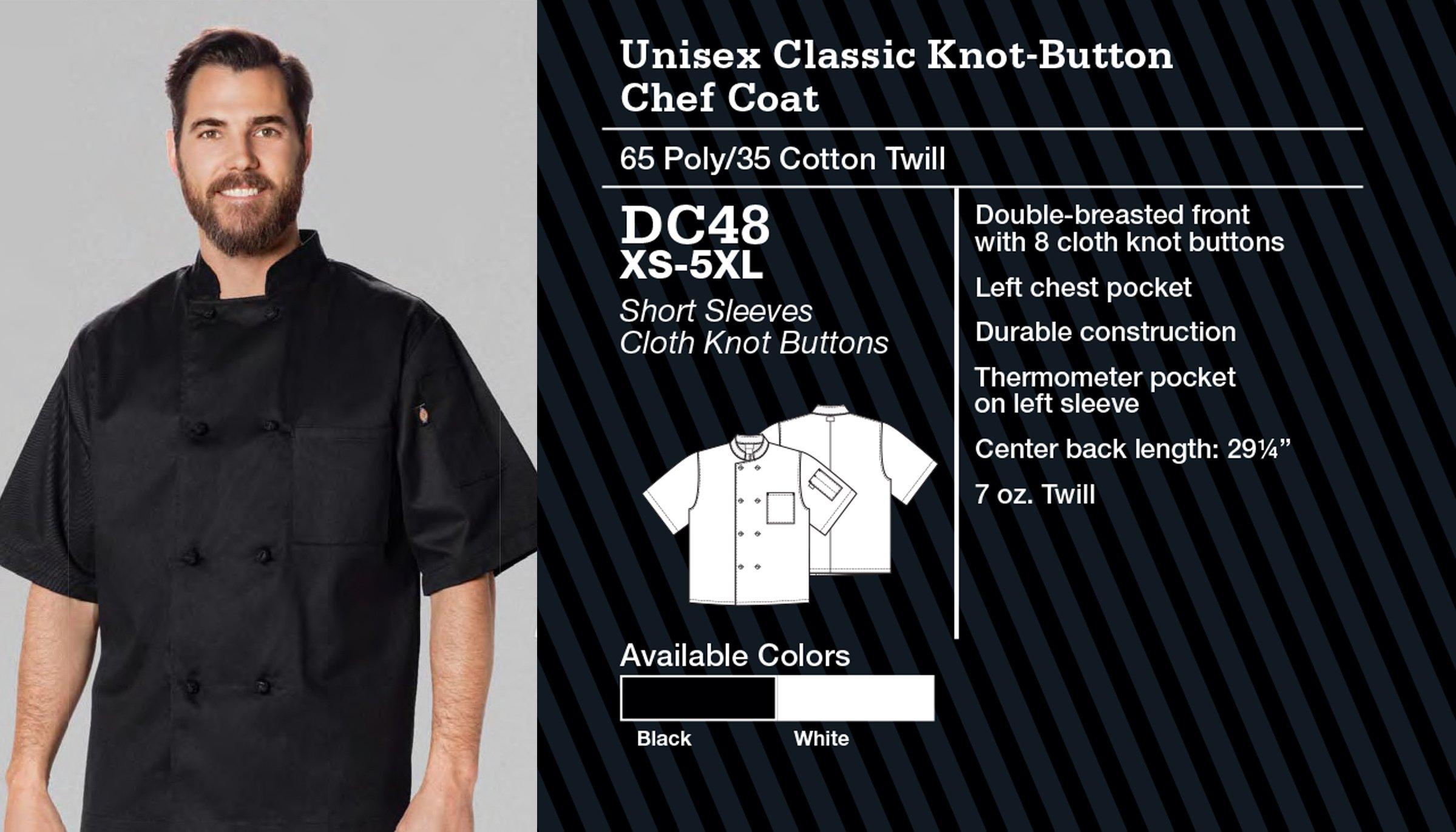Abrigo de Chef Clásico Unisex, Botón de Nudo.  Manga Corta. DC48.