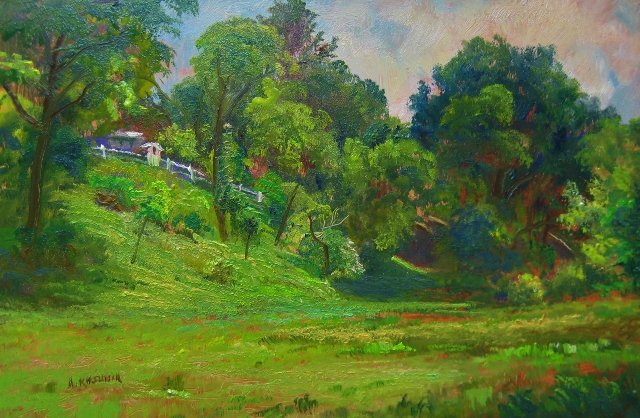 58. Field of Greens, 8x12 oil on panel