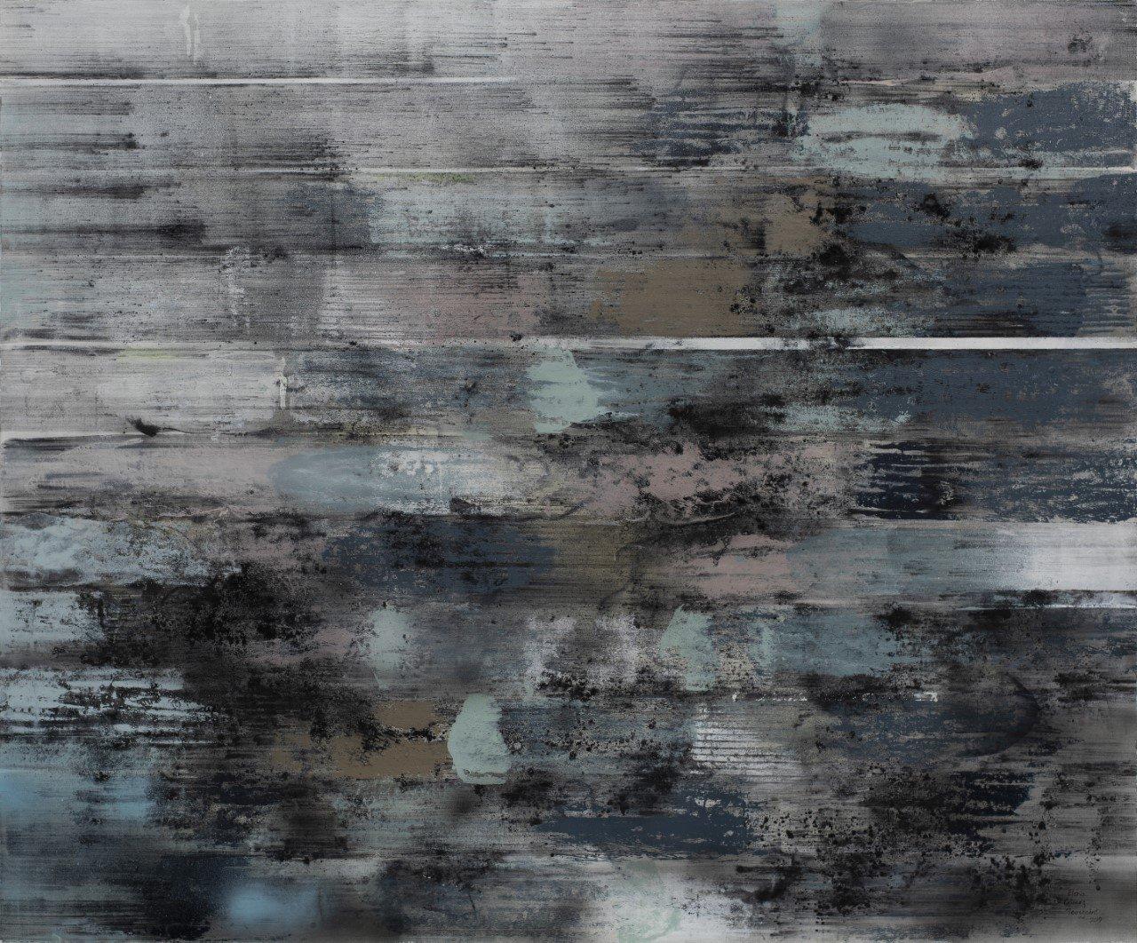 Muro de ladrillo De la serie Distressed Walls Carboncillo, acrílico y pintura en aérosol s/lino 100  x 120 cms.