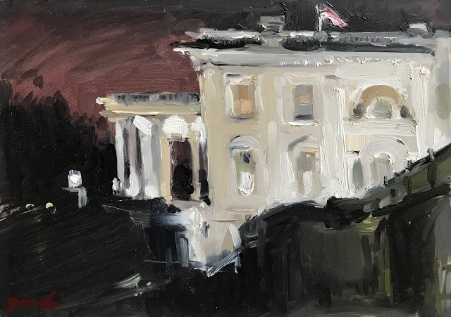 "Christina Girardi, White House fr Press Room, 5"" x 7"" Oil"