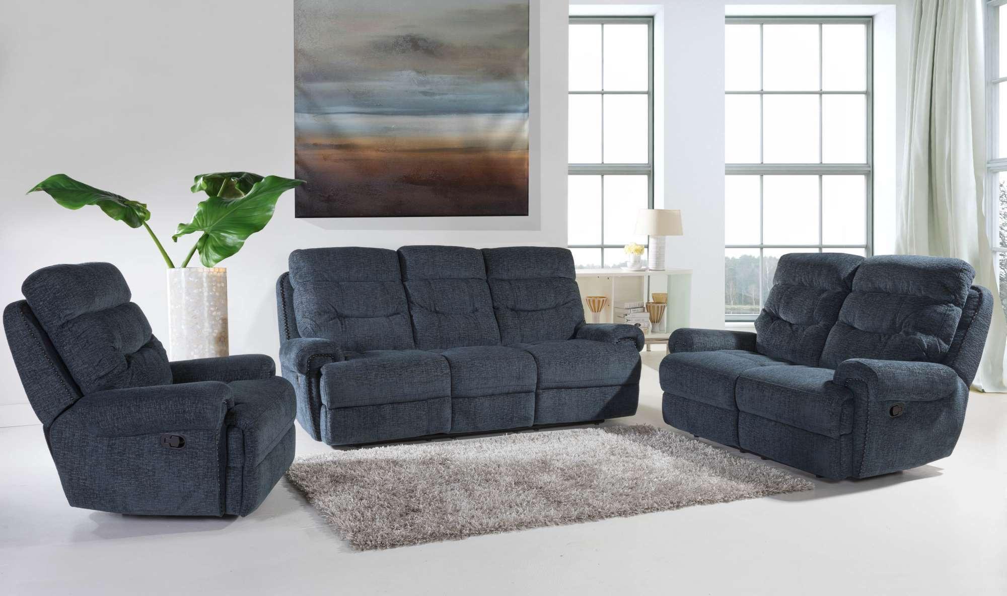 Indigo Reclining Sofa and Loveseat LR6194