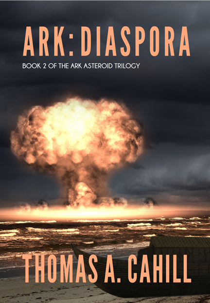 """Ark: Diaspora"" book cover, showing the mushroom cloud of a thermonuclear explosion"