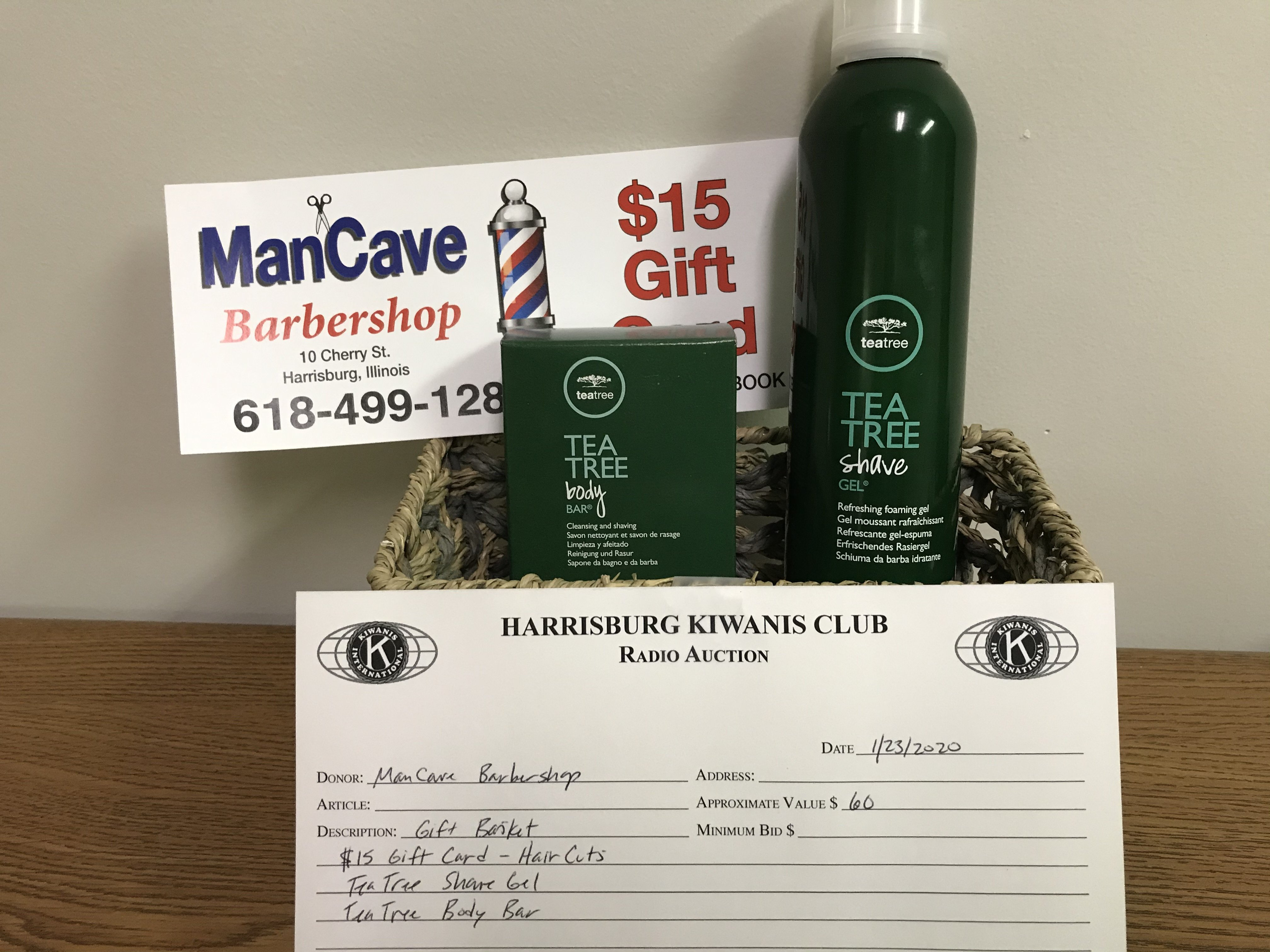 Item 419 - Man Cave Barbershop $15 Gift Card for Haircuts, TeaTree Shave Gel and Soap