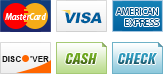 We accept MasterCard, Visa, American Express, Discover, Cash and Check.