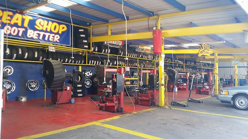 Inside of tire shop