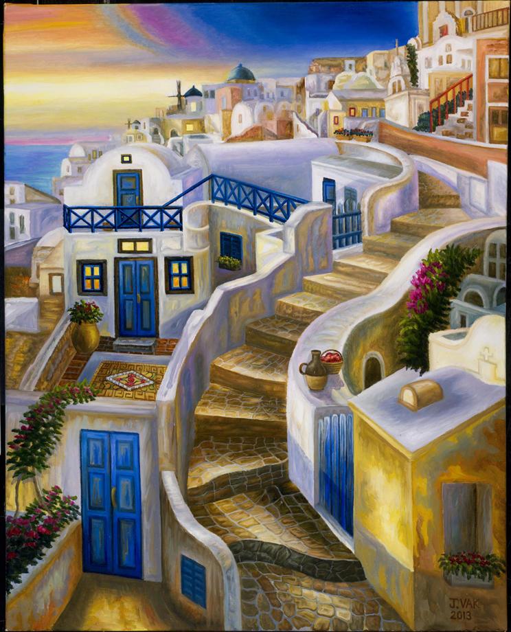 Santorini's Stairway 30x24 Original Oil $3550 2013