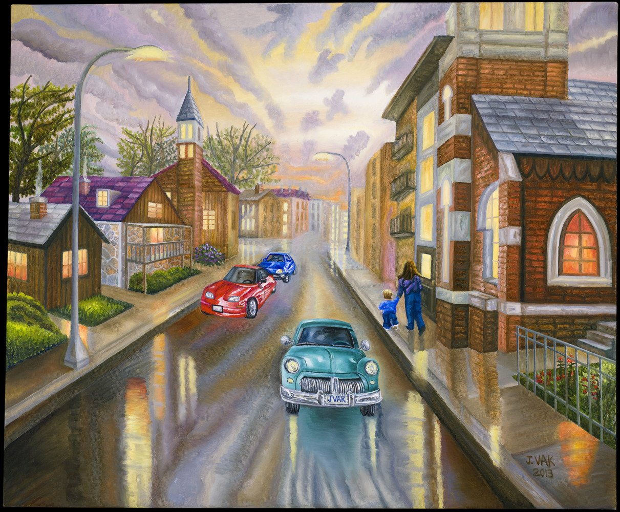 Old & New Cars 30x36 Original Oil         $3850           2013