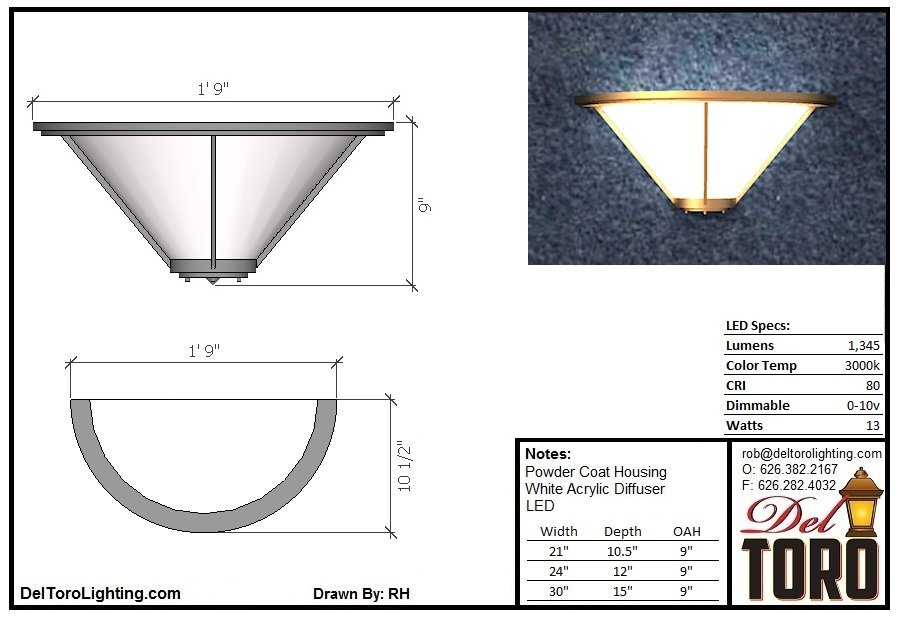 810W-Framed Cone Wall Sconce