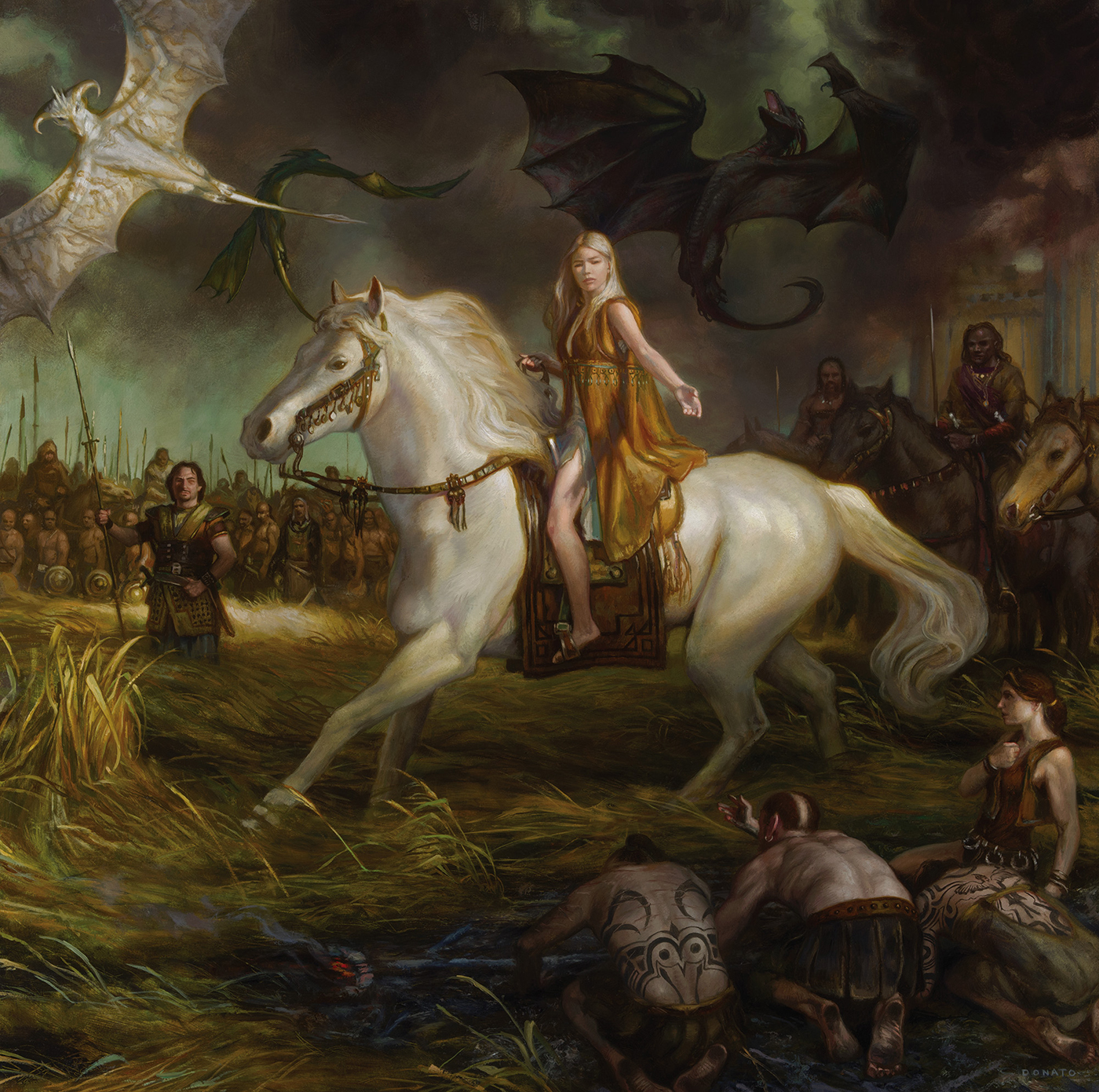 "Mother of Dragons - Daenerys Targaryen 30"" x 30""  oil on Panel  2014 Collection of George R.R. Martin"