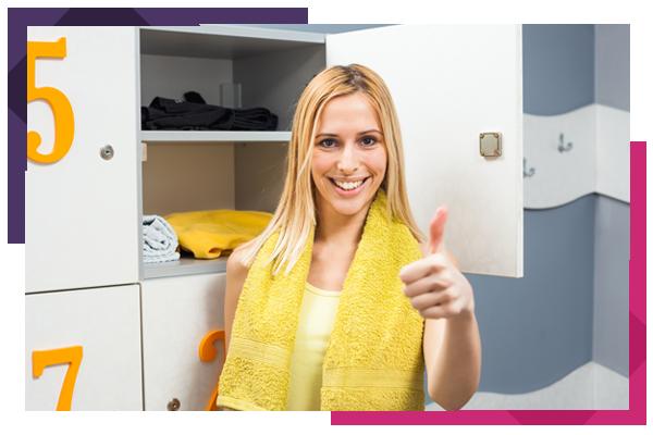 Happy Girl in Locker Room Before Fitness Training