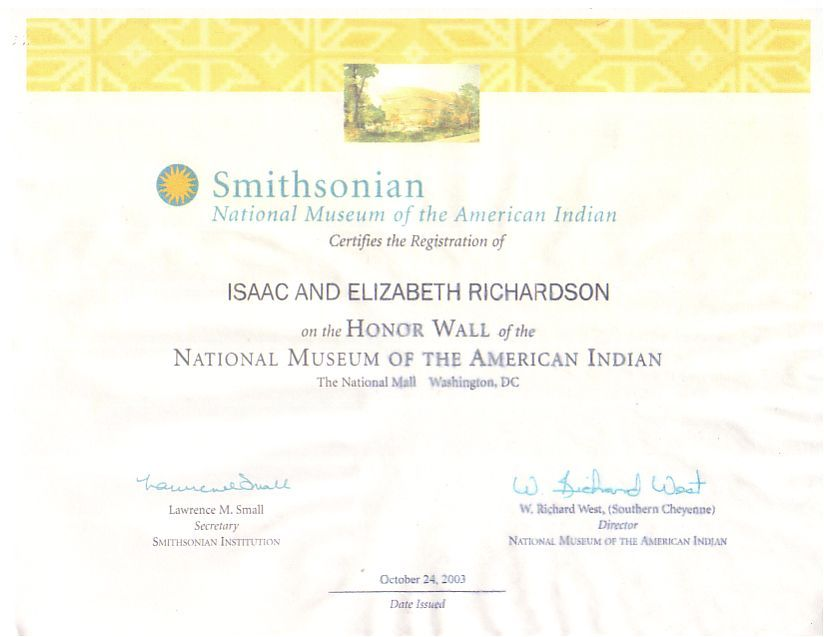 Smithsonian Registration Certificate